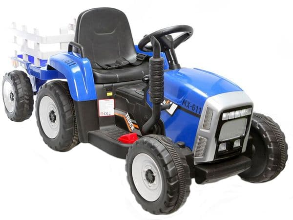 Ride On Toy Tractor & Trailer Blue 12v Electric with Parental Remote Control