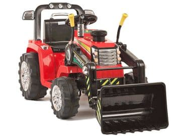 Ride On Tractor 12v Electric with Working Loader and Parental Remote Control Red