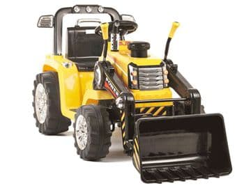 Ride On Tractor 12v Electric with Working Loader and Parental Remote Control Yellow
