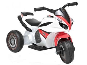 Ride On Trike Racing 6V Electric Bike Junior 3 Wheeled Motorcycle in White & Red