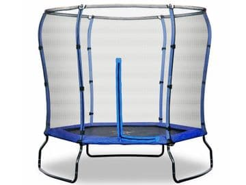 Safe Jump 7ft Trampoline with enclosure safety net steel frame hexagonal Blue Colour