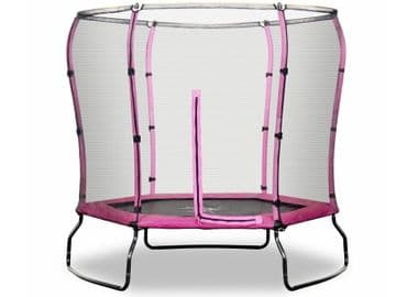 Safe Jump 7ft Trampoline with enclosure safety net steel frame hexagonal Pink colour