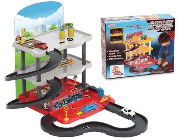 Toy car garage service station with 3 parking levels and 2 die cast cars playset