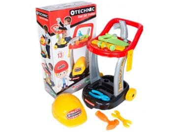Toy tools with tool trolley and hard hat junior builder DIY 13pc play set bright colours