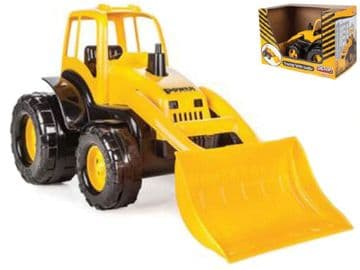 Toy Tractor Digger with Earth Mover Carry Scoop Construction Plant Yellow Push Along