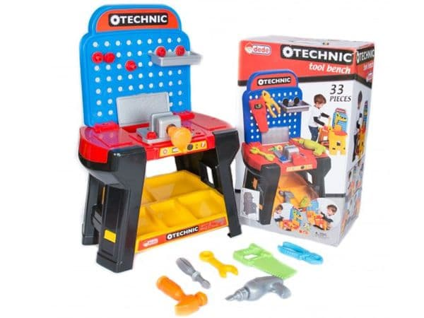 Toy Workbench and Play Tools 33pc Set Junior DIY Builder Bright Colours