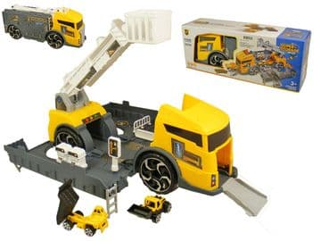 Transforming Construction Truck Toy Building Lorry Storage Play Set + 2 Vehicles