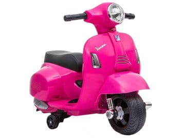 Vespa GTS Pink Scooter Licensed Childs Ride On 6v Electric Junior Moped Toy Bike