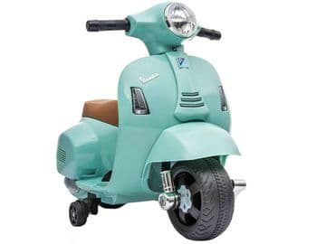 Vespa GTS Scooter Teal Licensed Childs Ride On 6v Electric Junior Moped Toy Bike