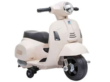Vespa GTS White Scooter Licensed Childs Ride On 6v Electric Junior Moped Toy Bike
