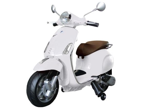 Vespa Primavera White Scooter Licensed Ride On 12v Electric Moped Toy Bike