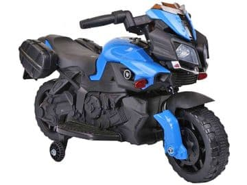 Yamaha Style Junior Ride On Motorbike Blue 6V Electric Motorcycle with stabilizers