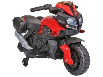 Yamaha Style Junior Ride On Motorbike Red 6V Electric Motorcycle with stabilizers