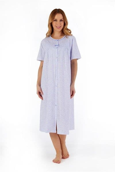 Slenderella Floral Button Through Jersey Nightdress - ND55103