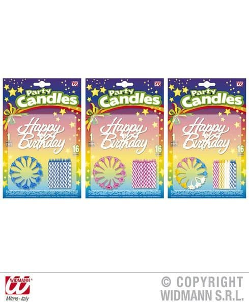 16 Happy Birthday Candles 3 Colours Partyware Party