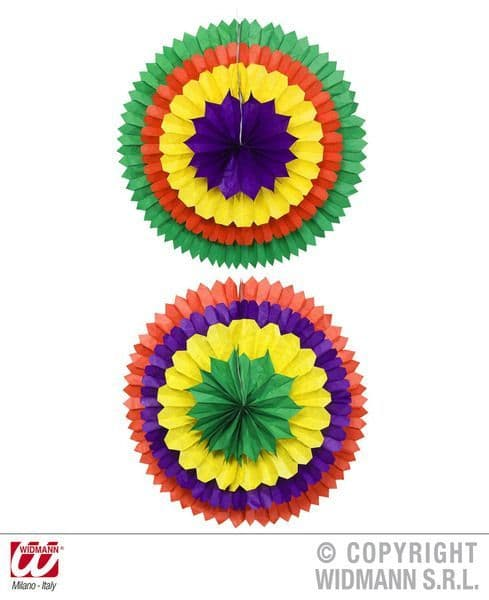 3D Colour Paper Fan 56cm 2 Colours Fancy Dress