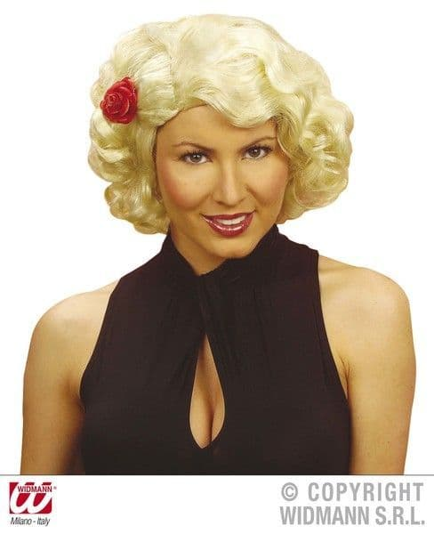50s Wig W/Flower Boxed (Black/Blonde/Red) Rockabilly Rock N Roll 50s Fancy Dress