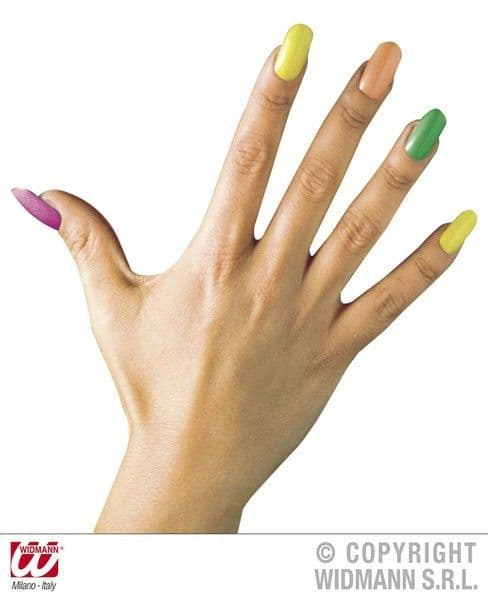 80s 90s Neon Nails Set 12 W/24 Adhes 4 Colours Pop 80s New Romantic Cosmetics