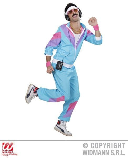 Adults 80s Blue Shell Suit Costume 60s Fancy Dress