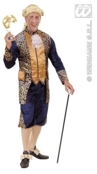 Adults Blue Marquis Costume Fancy Dress