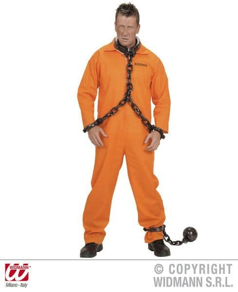 Adults County Jail Inmate Costume Police Fancy Dress