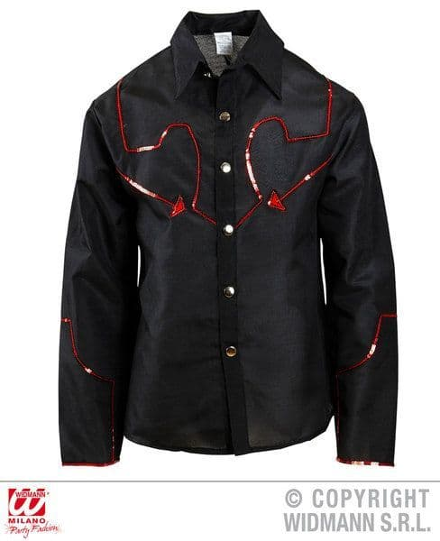 Adults Cowboy Shirt with Sequin Dec Top Cowboy Wild West Fancy Dress