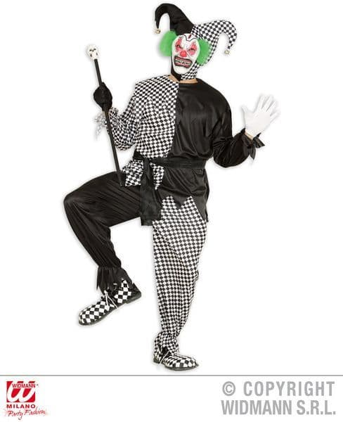 Adults Evil Jester - Black/White Costume Circus Fancy Dress