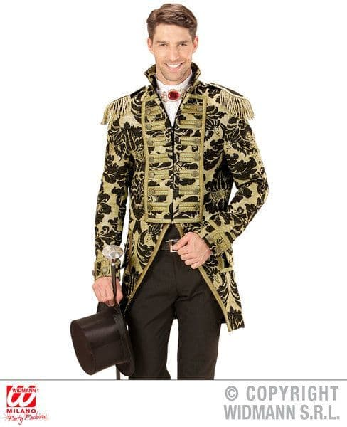 Adults Gold Jacquard Parade Tailcoat Costume Circus Fancy Dress