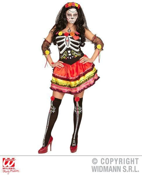 Adults Mujer Dia De Los Muertos Colourful Costume Fancy Dress