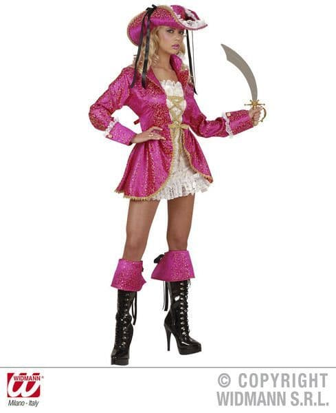 Adults Pirate Captain Pink Costume Pirate Fancy Dress