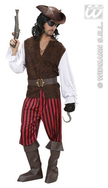 Adults Pirate Shirt With Vest Pirate Fancy Dress