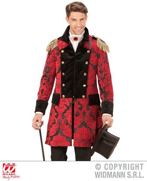 Adults Red Jacquard Parade Coat Costume Circus Fancy Dress