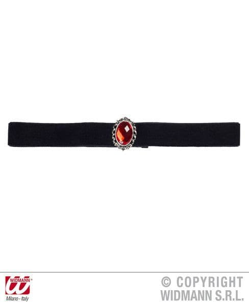 Black Velvet Choker With Stone Jewellery Halloween Fancy Dress
