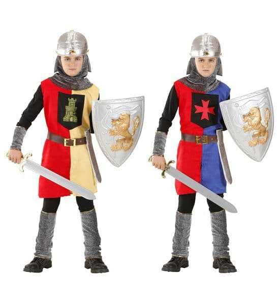 Boys Medieval Warrior 2Cols Coat Belt with Holster Helmet Costume Fancy Dress