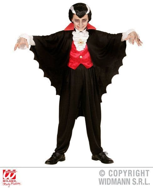 Boys Vampire Cape Costume Halloween Fancy Dress