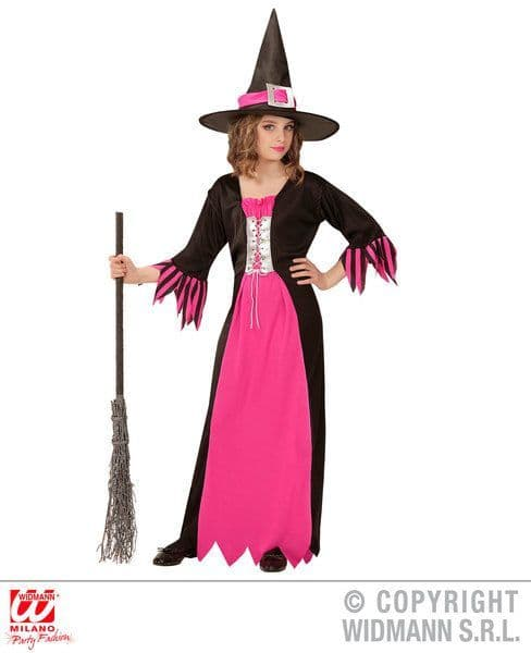 Childs Pink Witch Costume Halloween Fancy Dress