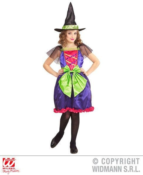 Childs Polka Dot Colourful Witch Costume Fancy Dress