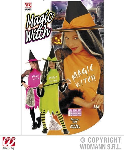 Girls Magic Witch Costume - 3 Colours Halloween Fancy Dress