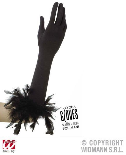 Gloves with Feathers Fancy Dress