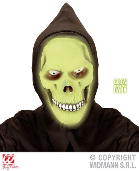 Glow In The Dark Grim Reaper Hooded Mask Halloween Fancy Dress