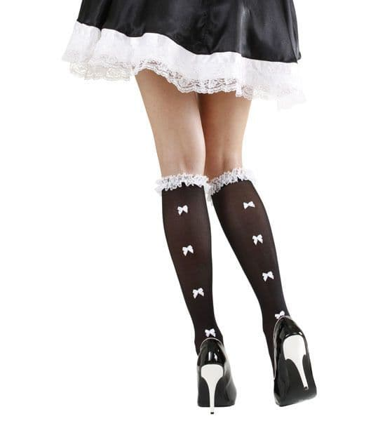 Ruffle Lace Trim & White Bows Stockings Tights Pantyhose Lingerie