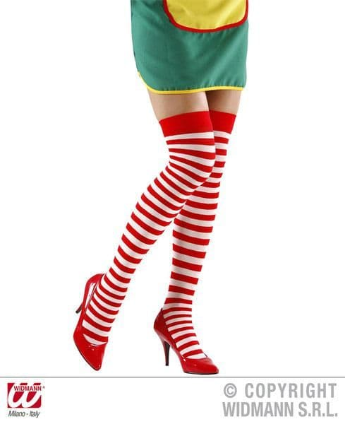 Striped Over The Knee Socks 70 - White/Red Stockings Tights Pantyhose