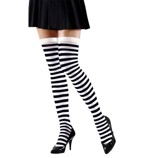 Striped Over The Knee Socks - Black/White 70Den Stockings Tights Pantyhose