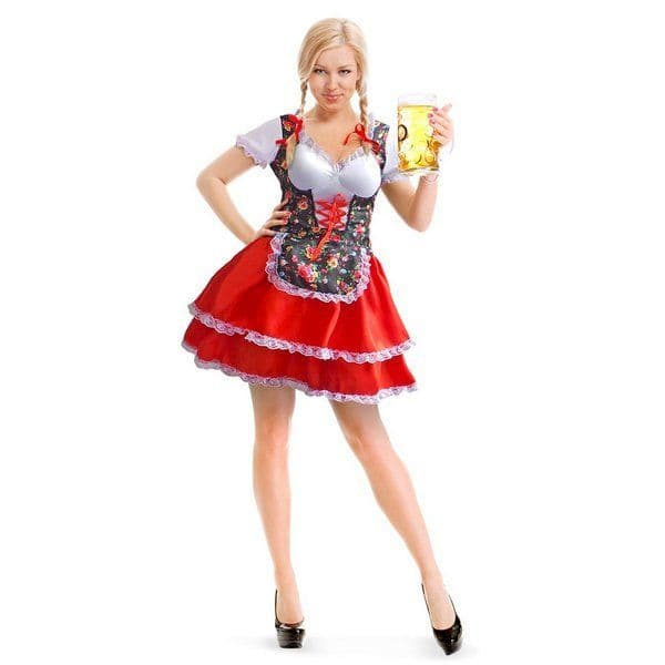 Adult Oktoberfest Dress Tiroler Flowers German Bavarian Octoberfest Beer Festival