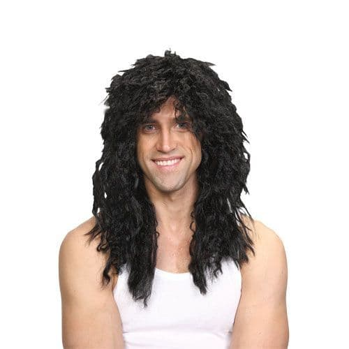 Adult Rockstar Wig Outfit Accessory for 60s 70s 80s 90s Fancy Dress Mens Ladies