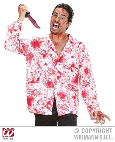 Adult Unisex Bloody Shirt Vampire Zombie Bleeding Fancy Dress