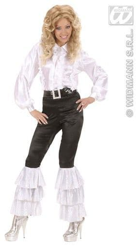 Adults Black Satin Pants with White Sequins L 70s 80s Abbaesque Fancy Dress