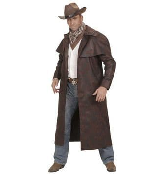 Adults Brown Duster Coats Cowboy Rancher Fancy Dress