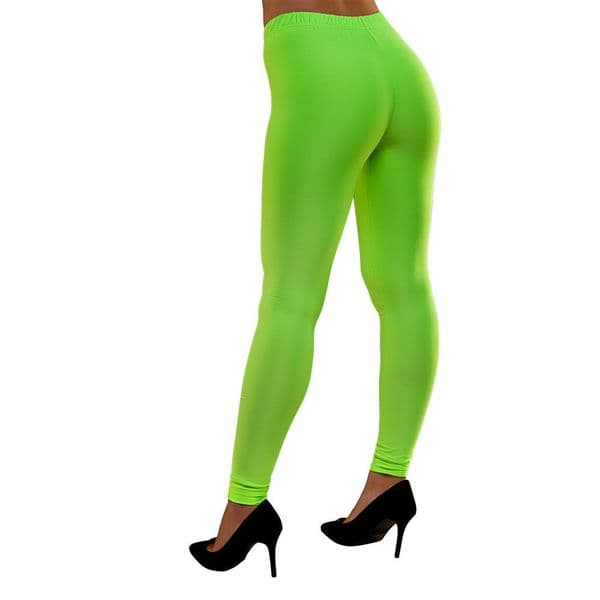 Adults Ladies 80's Neon Leggings - Green Fancy Dress Disco Madonna 90s Costume