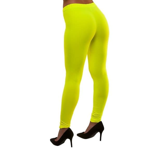 Adults Ladies 80's Neon Leggings - Yellow Fancy Dress Disco Madonna 90s Costume